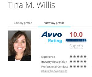 Orlando Florida Personal Injury Attorney Tina Willis Perfect 10 Superb AVVO Rating